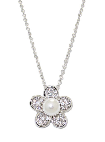 Pearl and Simulated Diamonds Wholesale Pendant with adjustable Chain