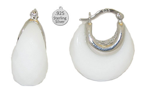 Genuine White Onyx set in 925 Sterling Silver Earring