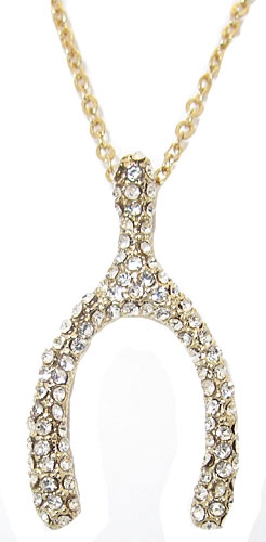 Pave Crystal Wishbone Wholesale Pendant with adjustable chain yellow gold