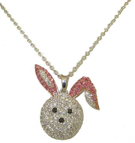 Simulated Diamond Bunny Rabbit Necklace is Fun