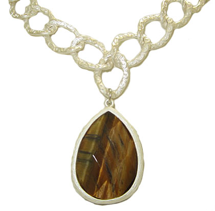Genuine Natural Tiger Eye Gemstone Necklace