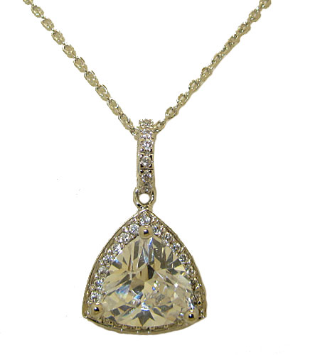 High End Simulated Diamonds Necklace in Wholesale Rhodium