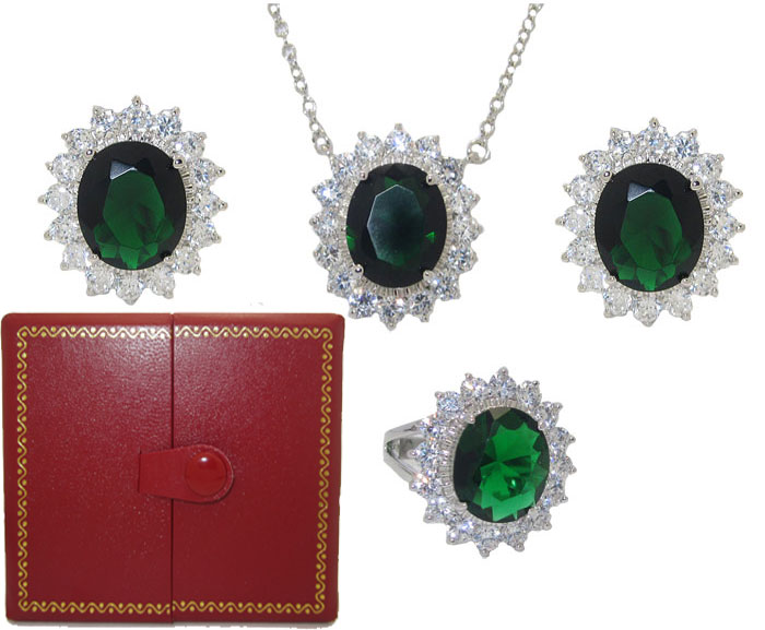 Princess Kate 3 Pcs Boxed Wholesale Set Emerald & Simulated Diamond