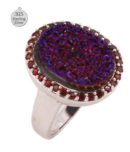 STERLING SILVER RING WITH DRUSY AND GARNET