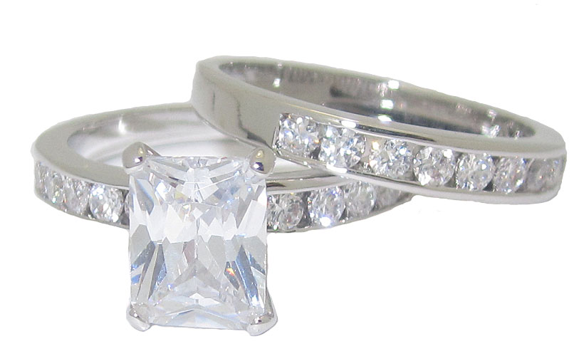 Wedding Set Swarovski Cz's Wholesale Ring 2 pcs set
