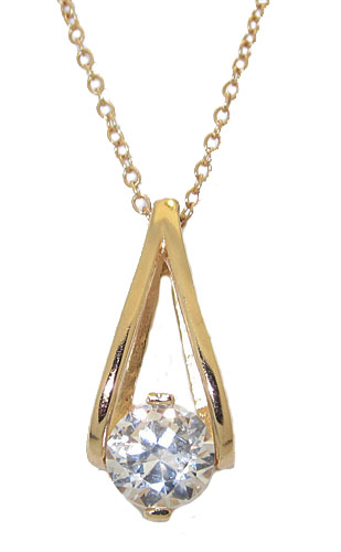 Bird Cage Pendant with Simulated Diamond Center Stone