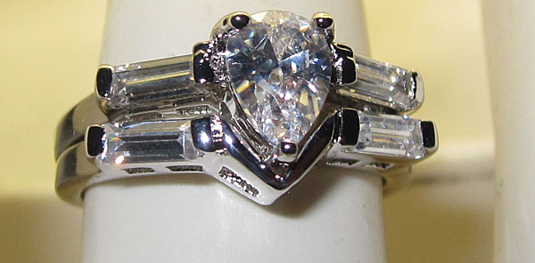 Pear Shaped Austrian Crystal Wedding engagement set white gold