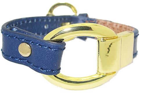 Blue Leather Bracelet accented in Gold wholesale jewelry