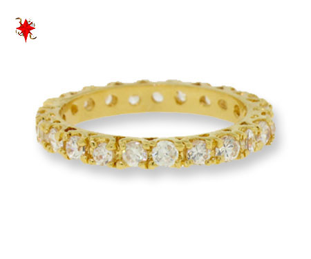 Crystal Eternity Band Ring Yellow Gold