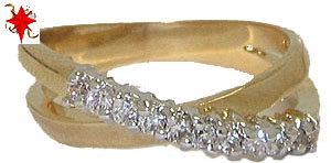Criss Cross CZ Designer Ring best selling yellow gold