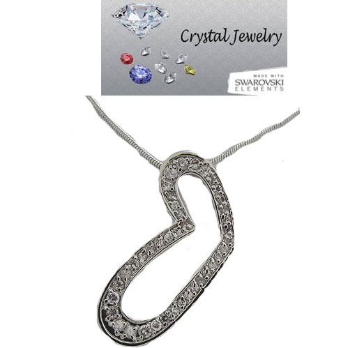 Austrian Crystal  Heart Pendant White Gold