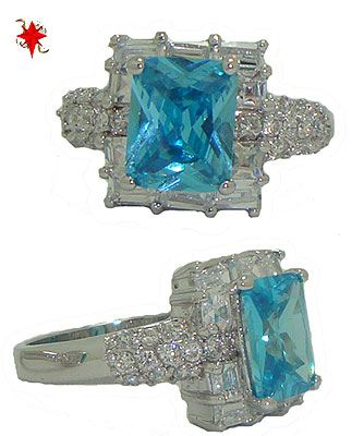 Emerald Cut Cz Celebrity's Blue Topaz