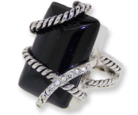 Genuine Black Onyx Ring accented in Crystal