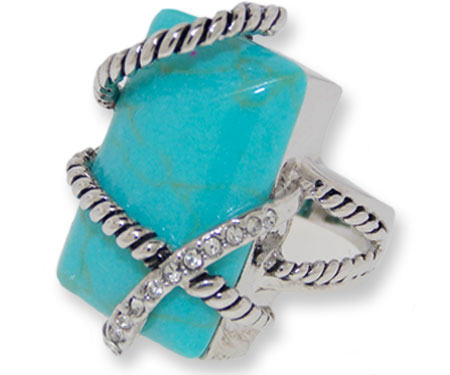Genuine Turquoise Ring accented in Crystal