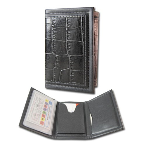 Men%E2%80%99s+Billfold+Classic+Black+Crocodile+Print+three+fold