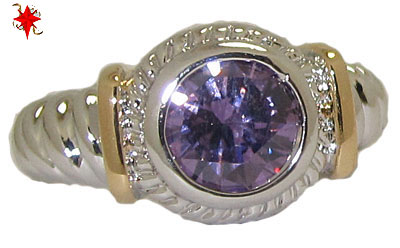 Designer Cable Ring 18 Kt Gold Amethyst