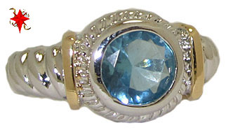 Designer Cable Ring 18 Kt Gold Blue Topaz