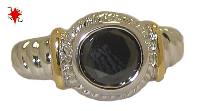 Designer Cable Ring 18 Kt Gold Jet Black