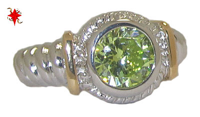 Designer Cable Ring 18 Kt Gold Peridot
