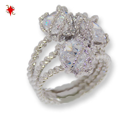 Twisted Cable Cz Clear White Ring