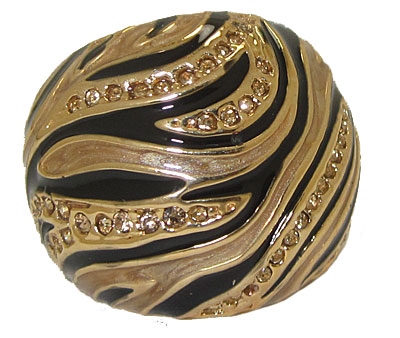 Animal Print Black & Brown Gold Ring