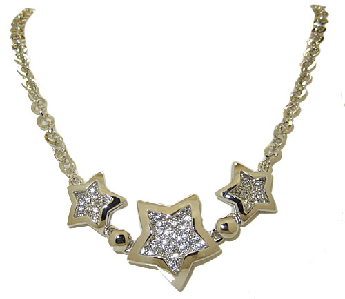 Pave' Star Necklace 20 inches