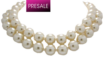 2 Row 12 mm Adjustable Pearl Necklace 16 - 18 inches