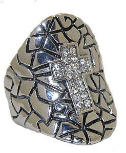 Silver and white crystals cross ring