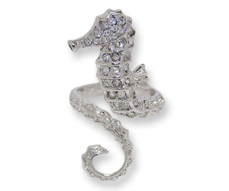 White Czech crystal sea horse rings set in  White Gold,