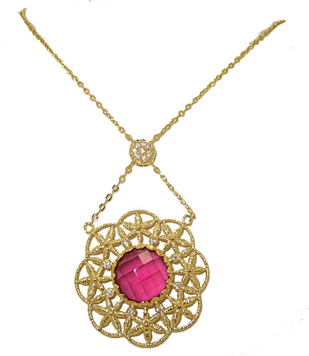 Ruby Colored Center Stone Wholessale Necklace