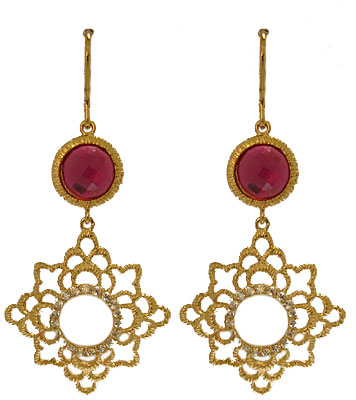 1 3/4 inch Gold Earring accented in Ruby Red