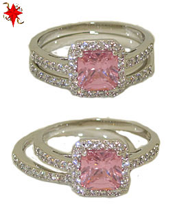 Two Pcs Wedding Engagement Ring in Rhodium & Pink Diamond