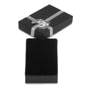 Black & Silver Bow Pendant Box