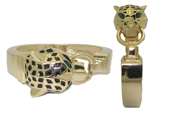 Hinged Gold Cat Bangle with Emerald Eyes