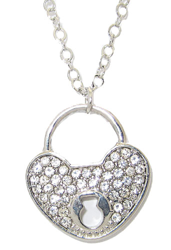 Pave Crystal Heart & Key Hole Necklace