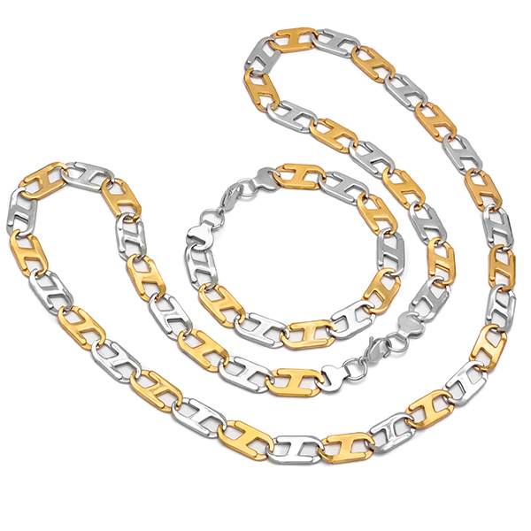 Two Tone Flat Bracelet & Necklace in stainless wholesale jewelry