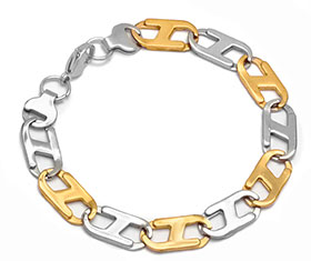 Two Tone Flat Bracelet Stainless Steel wholesale jewelry