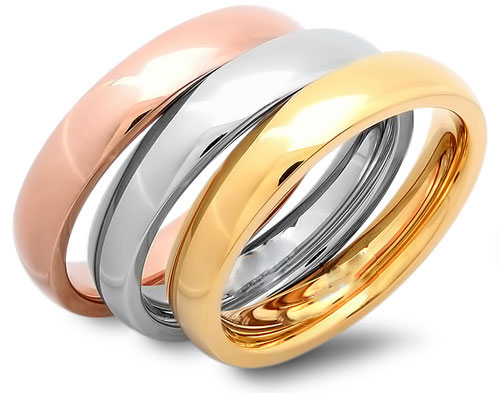 Tri-Color Wedding Band Ring Set wholesale jewelry