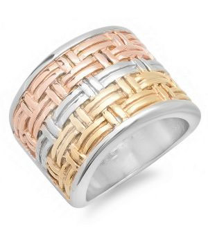 Stainless Steel Tri Color Ring wholesale jewelry