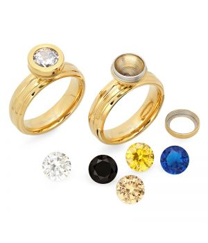 Stainless Steel Interchangeable CZ Ring 18 Karat Gold