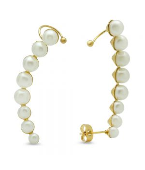 Ladies 18kt Gold Plated Stainless Steel Climber Cuff Earrings With Simulated Pearls