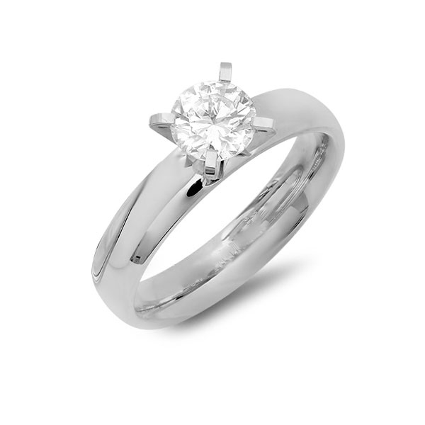 Stainless Steel Engagement Ring With Simulated Diamond