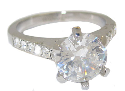 Stainless Steel Cz Ring Simulated Diamonds