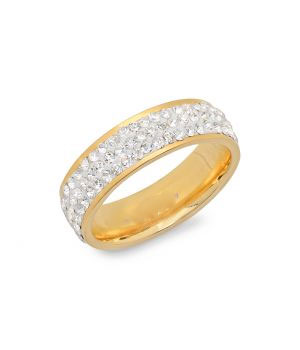 Steel Eternity Ring in 18 KT Gold Plated wholesale jewelry