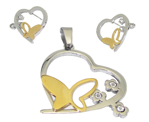 Stainless Wholesale Jewelry Set Accented with Butterflies