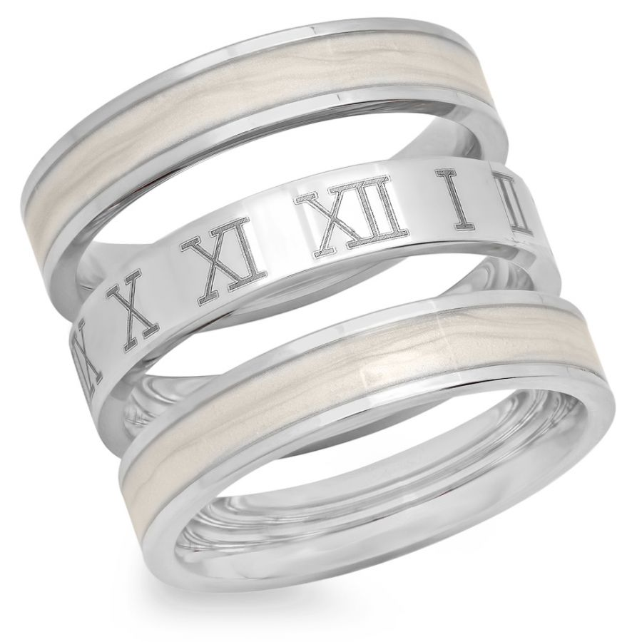 3 Stainless Steel Rings with Roman Numbers