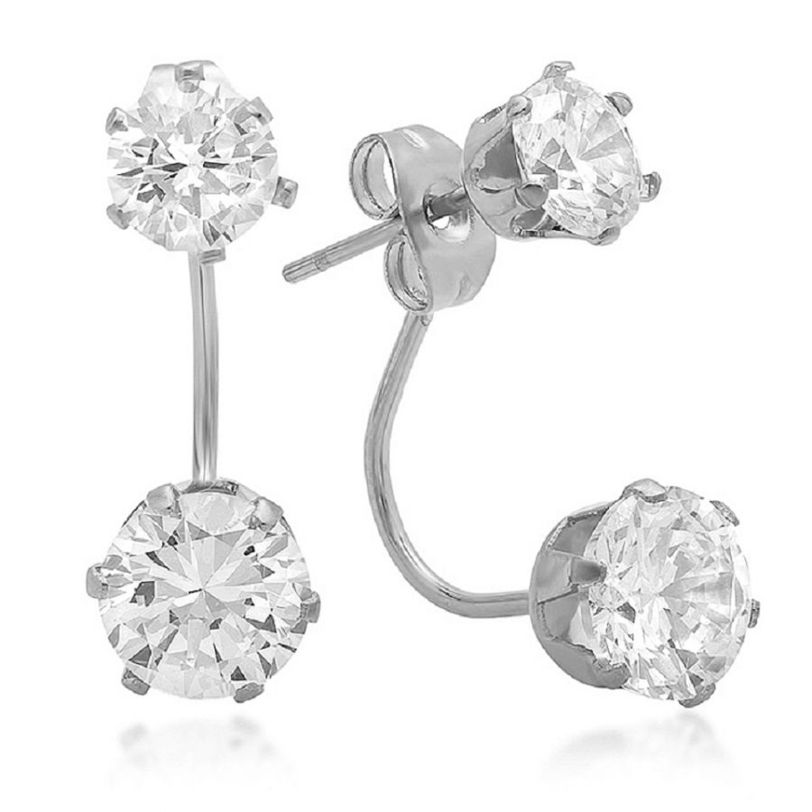 Stainless Steel Double Drop Stimulated Diamond Earrings Swarovski Elements