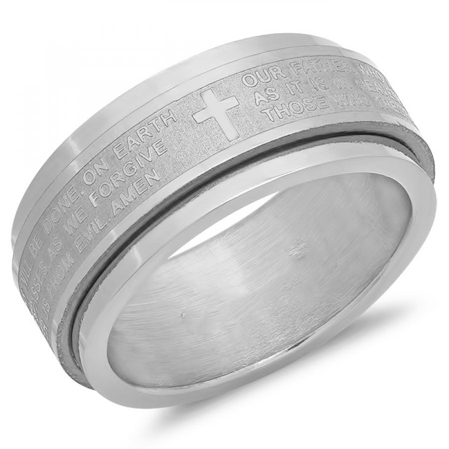 Stainless Steel Prayer Spinning Ring Our Father