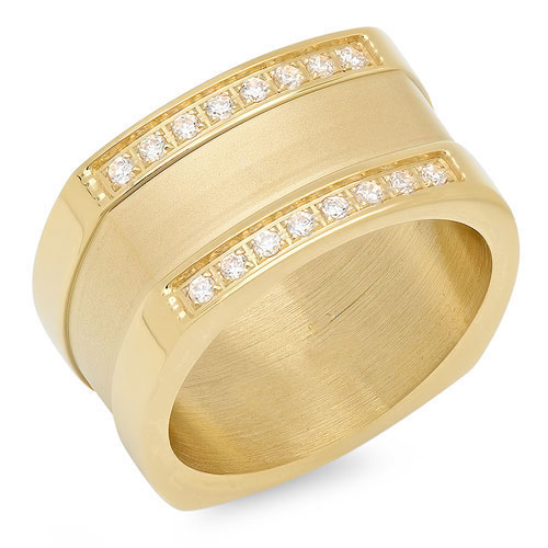 Wholesale 18 KT Brush and Polished Gold Ring