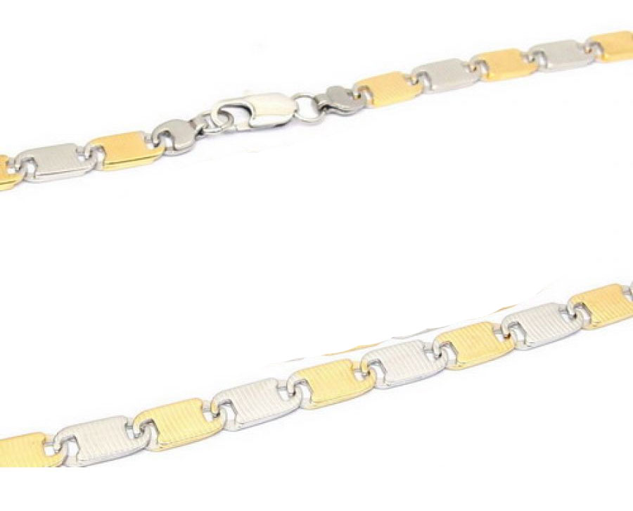 Two-Tone Steel Necklace 18 karat gold accent